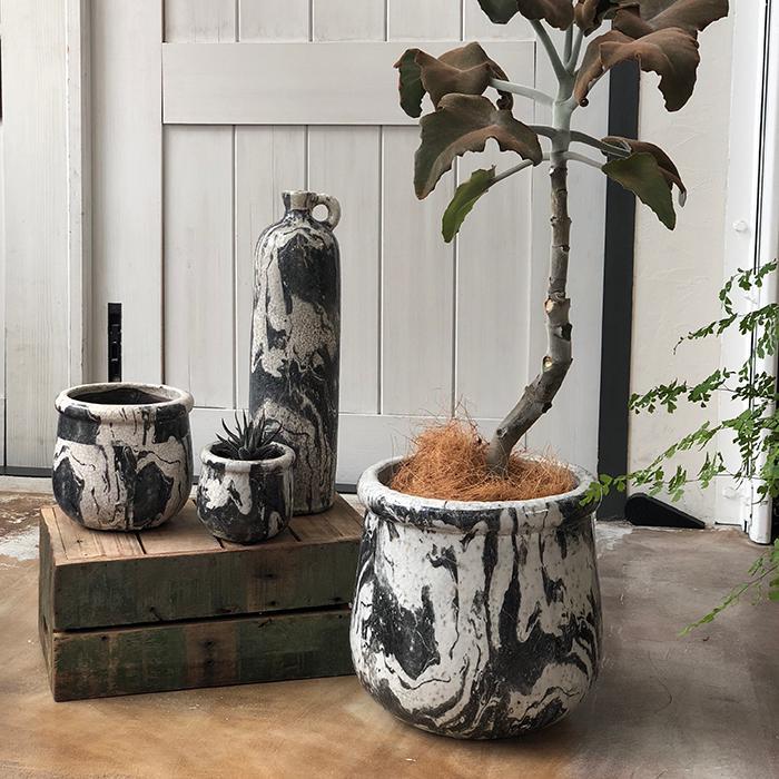 花びん 花瓶 花器 MONO セラミック Mサイズ マーブルブラック07