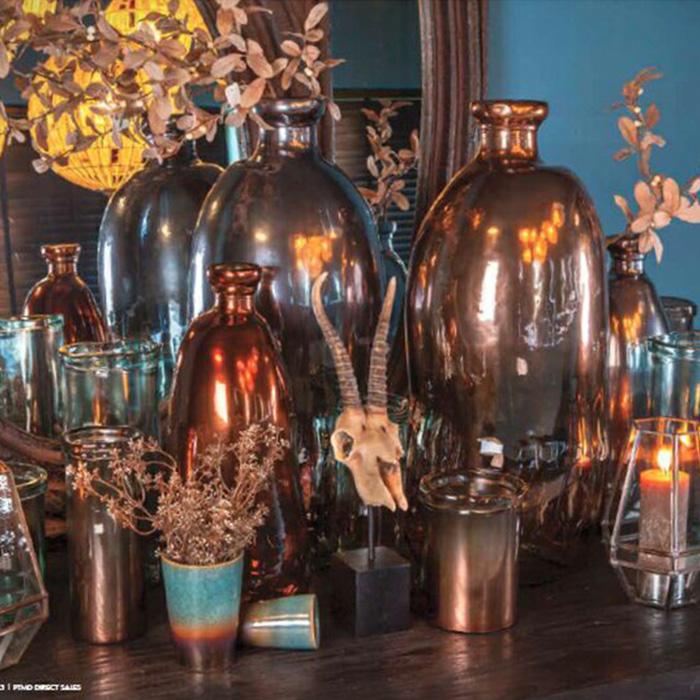花びん 花瓶 花器 MELO ガラスシリンダー Mサイズ ブラウン