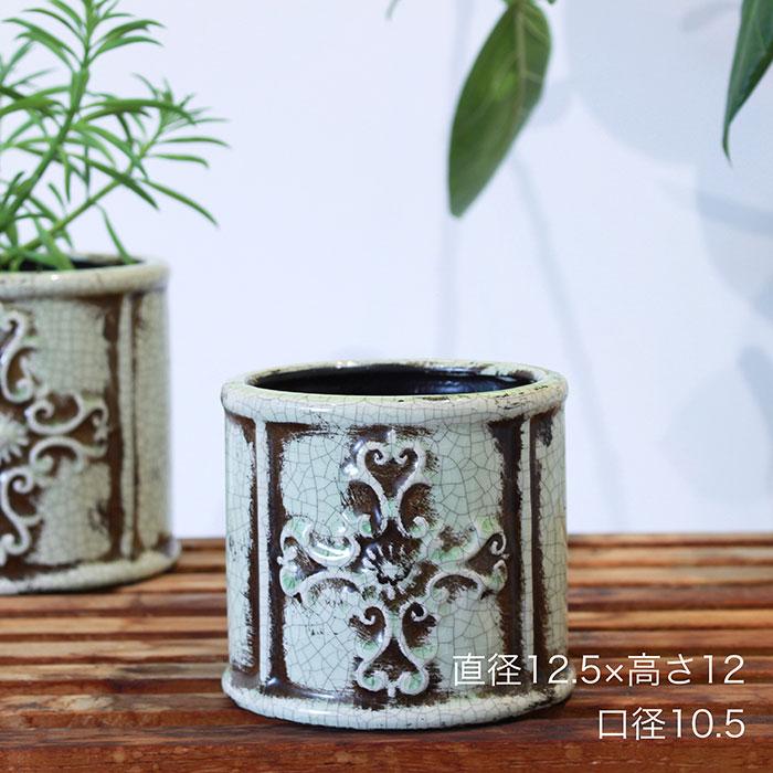 MARLA 鉢カバー Sサイズ グリーン 陶器  観葉植物 アンティーク調