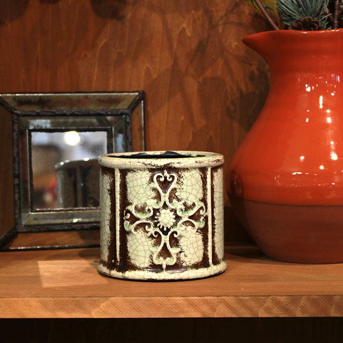 MARLA 鉢カバー Sサイズ グリーン 陶器  観葉植物 アンティーク調11