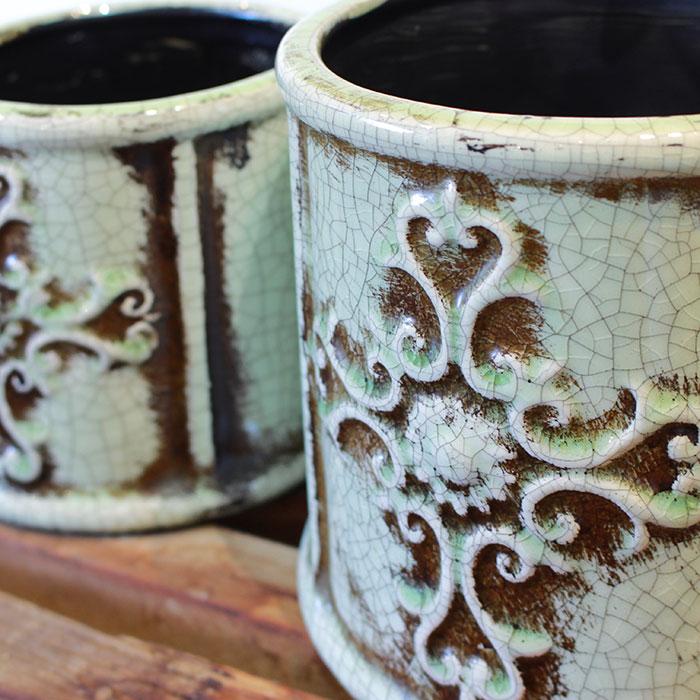 MARLA 鉢カバー Sサイズ グリーン 陶器  観葉植物 アンティーク調04