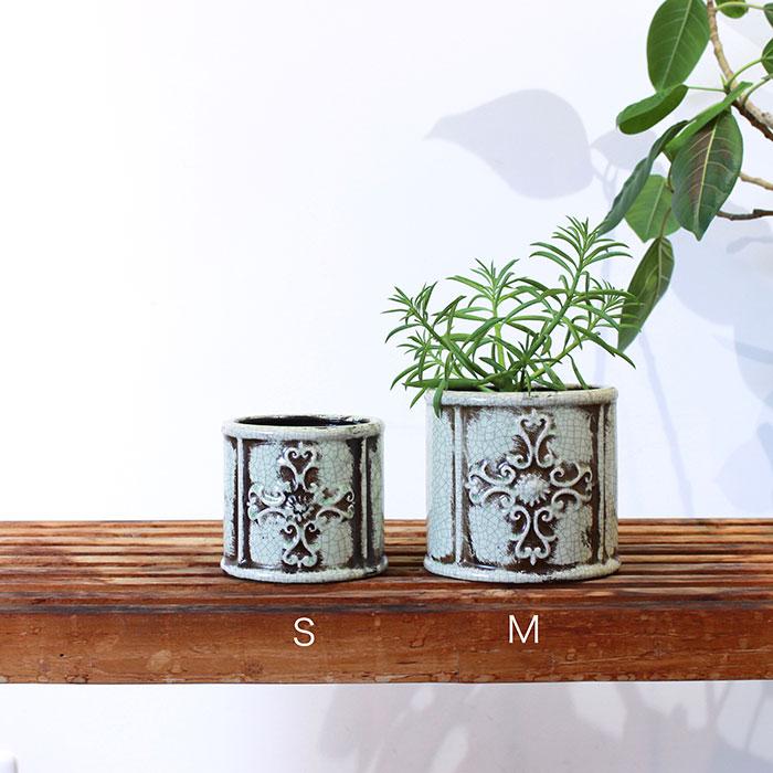 MARLA 鉢カバー Mサイズ グリーン 陶器  観葉植物 アンティーク調01