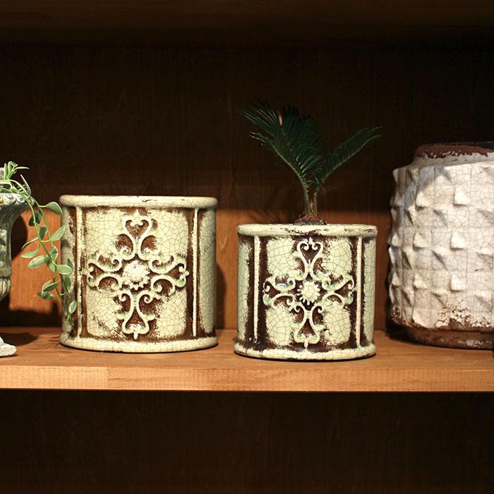 MARLA 鉢カバー Mサイズ グリーン 陶器  観葉植物 アンティーク調10