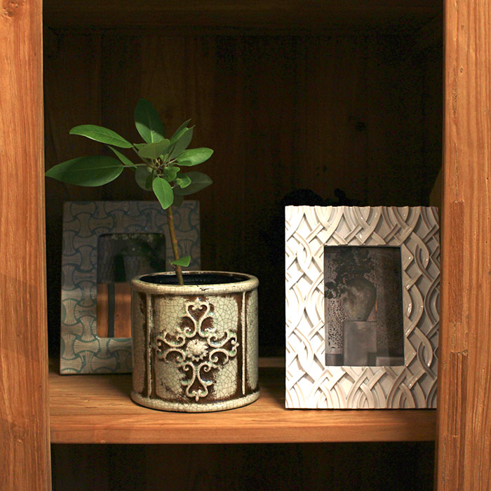 MARLA 鉢カバー Mサイズ グリーン 陶器  観葉植物 アンティーク調11