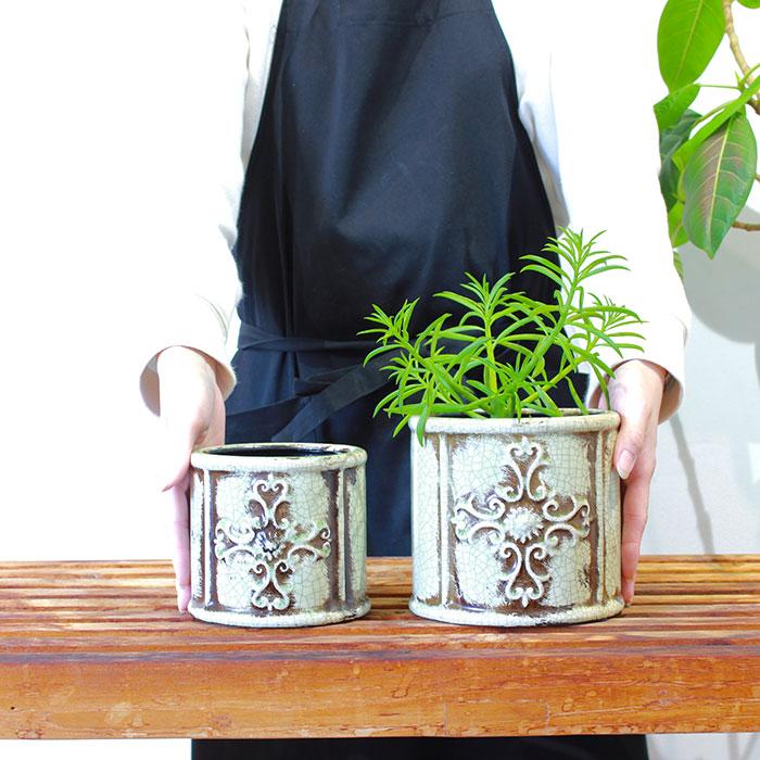MARLA 鉢カバー Mサイズ グリーン 陶器  観葉植物 アンティーク調02