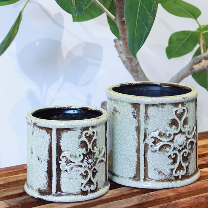 MARLA 鉢カバー Mサイズ グリーン 陶器  観葉植物 アンティーク調03