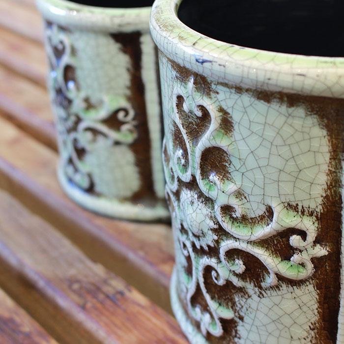 MARLA 鉢カバー Mサイズ グリーン 陶器  観葉植物 アンティーク調05