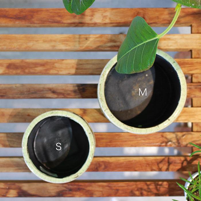 MARLA 鉢カバー Mサイズ グリーン 陶器  観葉植物 アンティーク調06