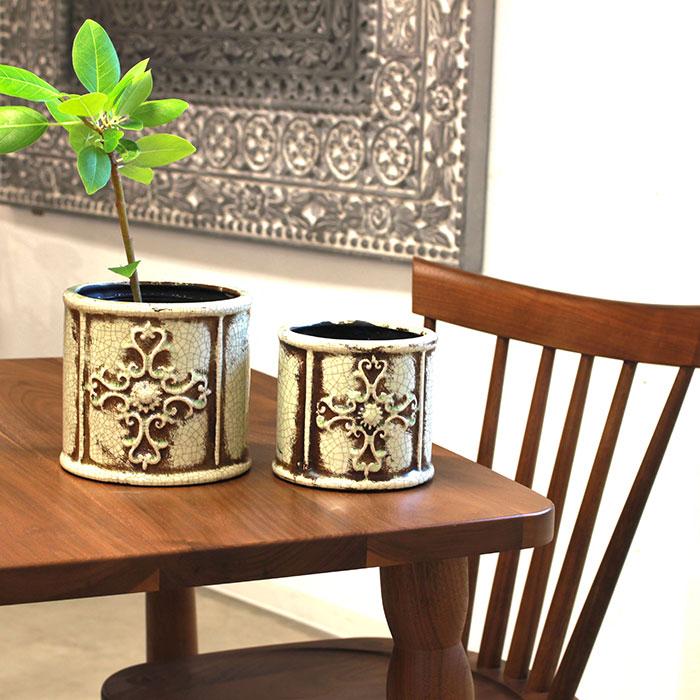 MARLA 鉢カバー Mサイズ グリーン 陶器  観葉植物 アンティーク調07