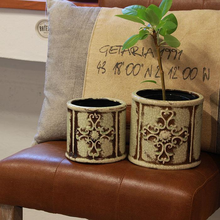 MARLA 鉢カバー Mサイズ グリーン 陶器  観葉植物 アンティーク調08