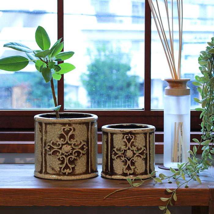 MARLA 鉢カバー Mサイズ グリーン 陶器  観葉植物 アンティーク調09
