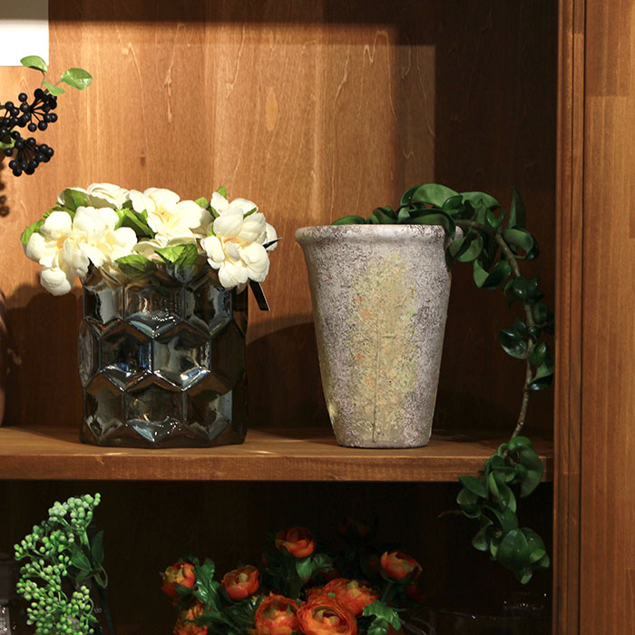 JAIリーフ 鉢カバー Mサイズ ナチュラル セメント  観葉植物 リーフ柄11