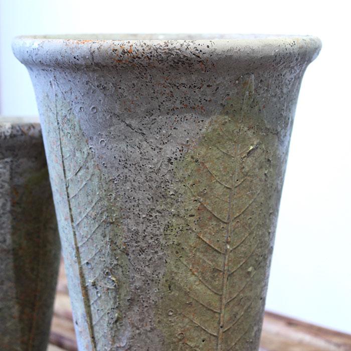 JAIリーフ 鉢カバー Mサイズ ナチュラル セメント  観葉植物 リーフ柄05