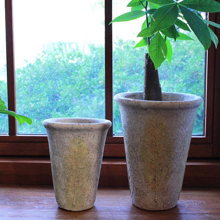 JAIリーフ 鉢カバー Mサイズ ナチュラル セメント  観葉植物 リーフ柄08
