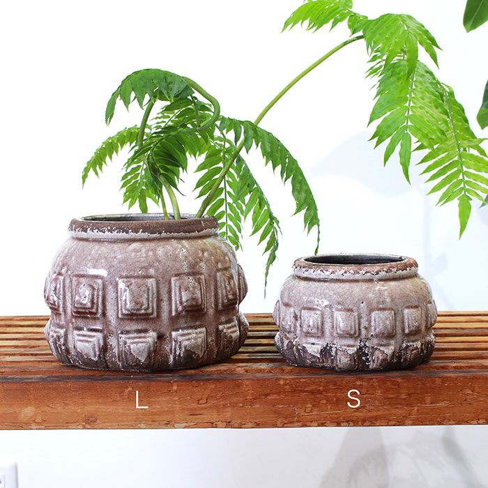 LIVY 鉢カバー Sサイズ ピンク 陶器  観葉植物 アンティーク調01