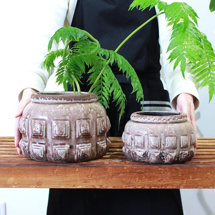 LIVY 鉢カバー Sサイズ ピンク 陶器  観葉植物 アンティーク調02