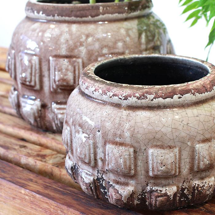LIVY 鉢カバー Sサイズ ピンク 陶器  観葉植物 アンティーク調03