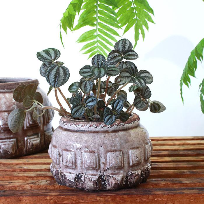 LIVY 鉢カバー Sサイズ ピンク 陶器  観葉植物 アンティーク調05