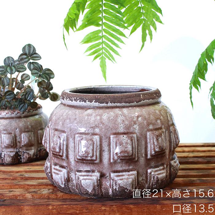 LIVY 鉢カバー Lサイズ ピンク 陶器  観葉植物 アンティーク調