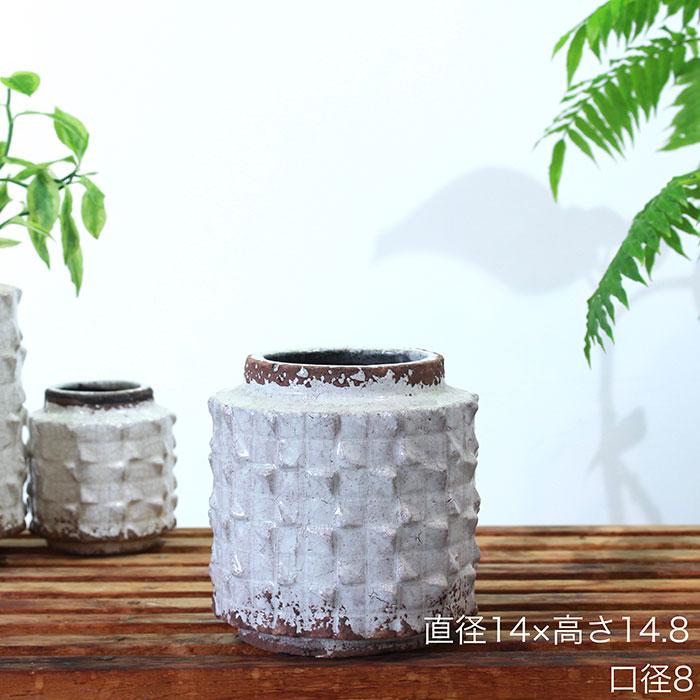 MILEY 鉢カバー Sサイズ ホワイト 陶器  鉢カバー 観葉植物 アンティーク調
