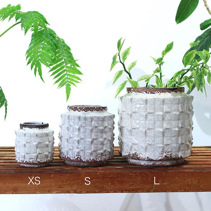 MILEY 鉢カバー Lサイズ ホワイト 陶器  鉢カバー 観葉植物 アンティーク調01