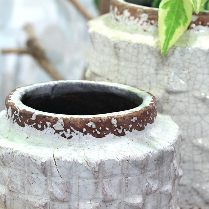 MILEY 鉢カバー Lサイズ ホワイト 陶器  鉢カバー 観葉植物 アンティーク調05