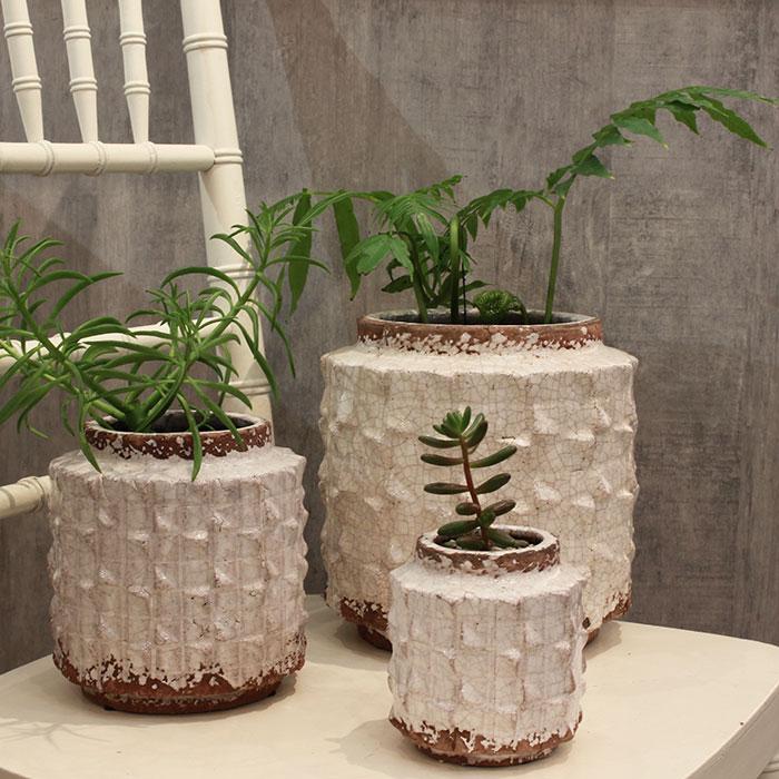 MILEY 鉢カバー Lサイズ ホワイト 陶器  鉢カバー 観葉植物 アンティーク調06
