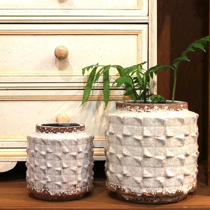 MILEY 鉢カバー Lサイズ ホワイト 陶器  鉢カバー 観葉植物 アンティーク調07
