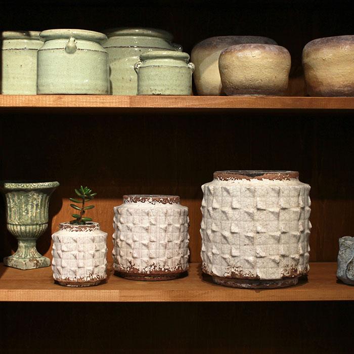 MILEY 鉢カバー Lサイズ ホワイト 陶器  鉢カバー 観葉植物 アンティーク調08