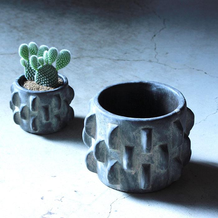 DOR 鉢カバー Sサイズ ダークグレー セメント  鉢カバー 観葉植物 シック08