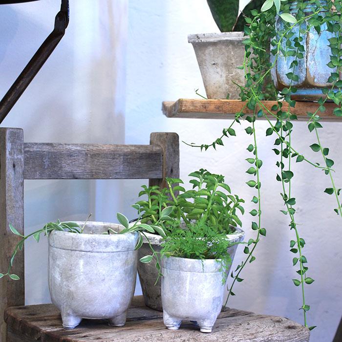CREアシ 鉢カバー Sサイズ グレー 陶器  鉢カバー 観葉植物 足つき11