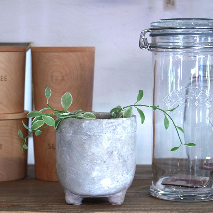 CREアシ 鉢カバー Sサイズ グレー 陶器  鉢カバー 観葉植物 足つき12