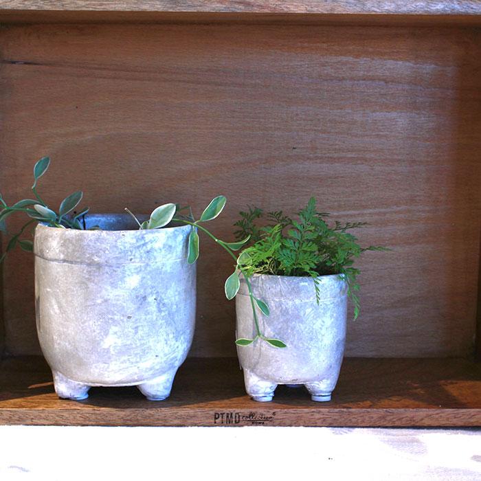 CREアシ 鉢カバー Sサイズ グレー 陶器  鉢カバー 観葉植物 足つき06