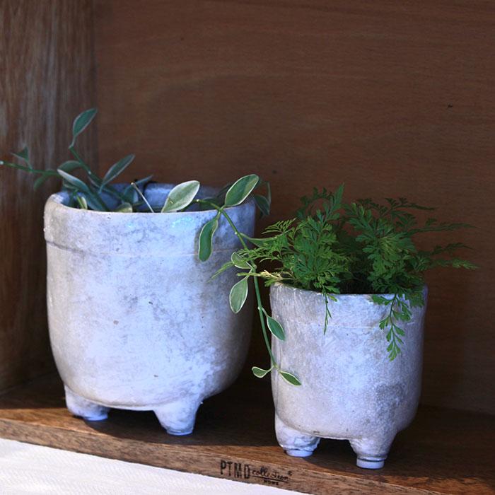 CREアシ 鉢カバー Sサイズ グレー 陶器  鉢カバー 観葉植物 足つき07