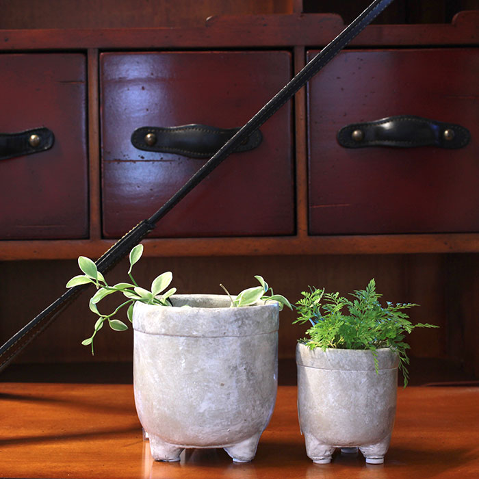 CREアシ 鉢カバー Sサイズ グレー 陶器  鉢カバー 観葉植物 足つき09