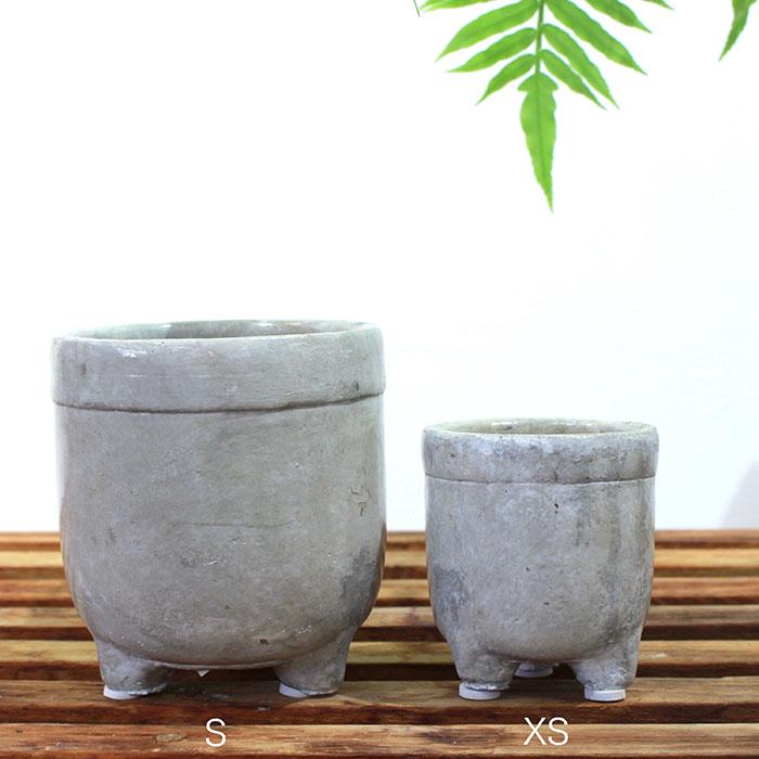 CREアシ 鉢カバー XSサイズ グレー 陶器  鉢カバー 観葉植物 足つき  01