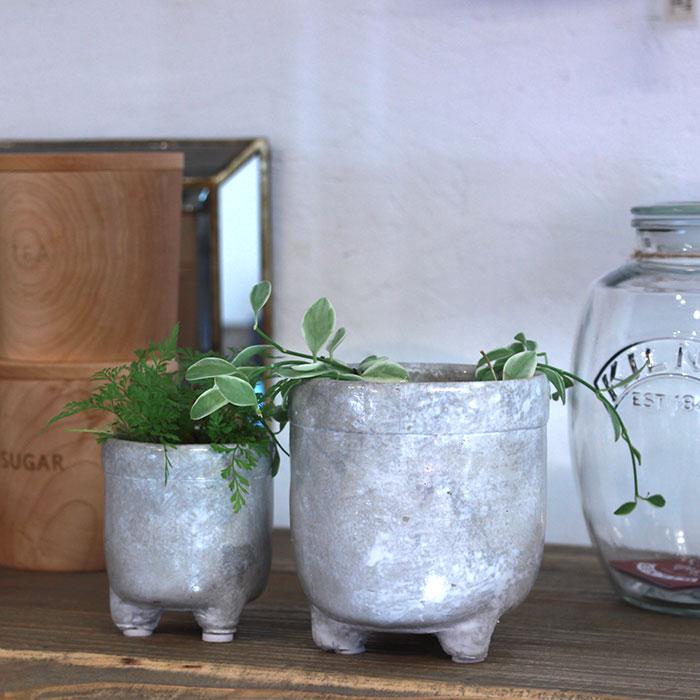CREアシ 鉢カバー XSサイズ グレー 陶器  鉢カバー 観葉植物 足つき  10