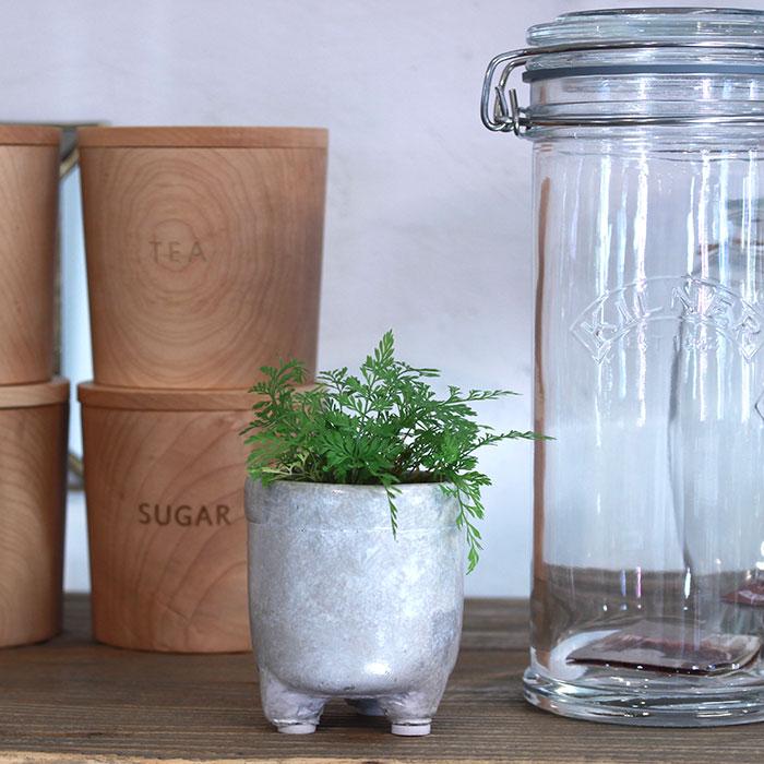 CREアシ 鉢カバー XSサイズ グレー 陶器  鉢カバー 観葉植物 足つき  12
