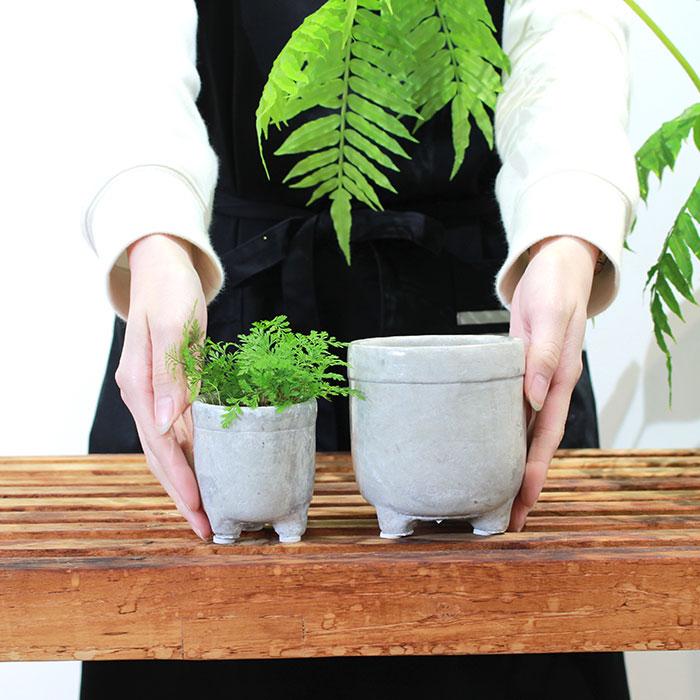 CREアシ 鉢カバー XSサイズ グレー 陶器  鉢カバー 観葉植物 足つき  02