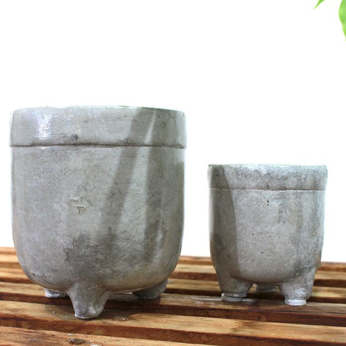 CREアシ 鉢カバー XSサイズ グレー 陶器  鉢カバー 観葉植物 足つき  03
