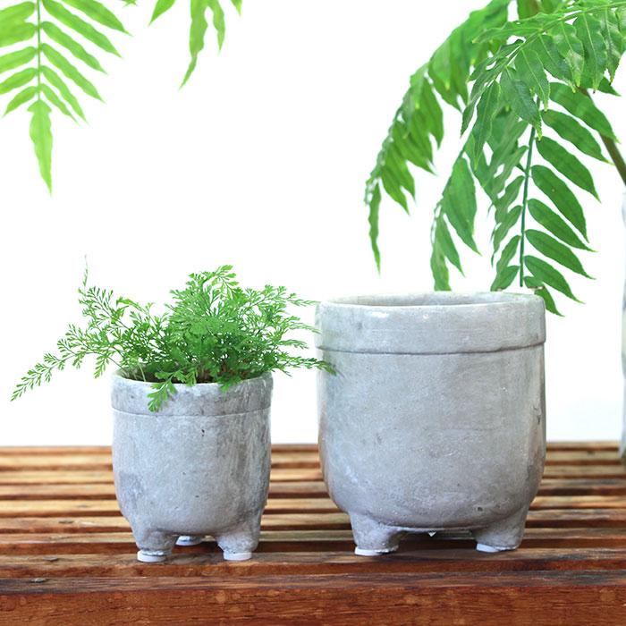 CREアシ 鉢カバー XSサイズ グレー 陶器  鉢カバー 観葉植物 足つき  05