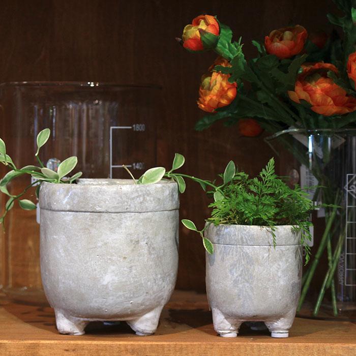 CREアシ 鉢カバー XSサイズ グレー 陶器  鉢カバー 観葉植物 足つき  08