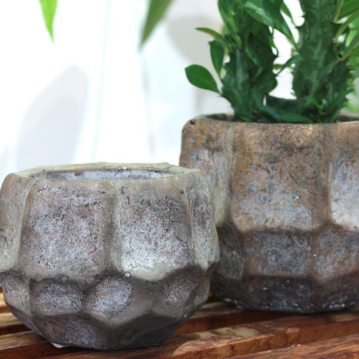 TODD 鉢カバー Mサイズ ゴールド セメント  鉢カバー 観葉植物 03