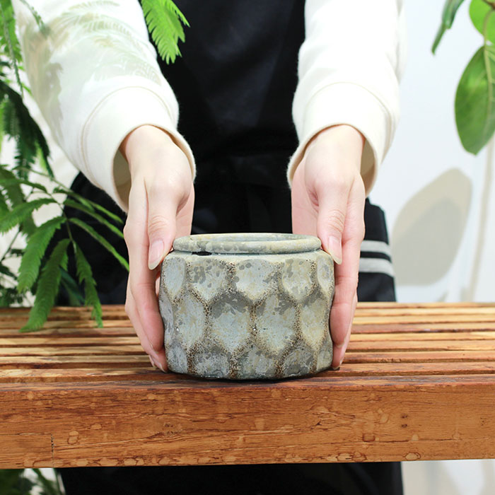 CARIOS 鉢カバー Sサイズ ブラウン セメント  鉢カバー 観葉植物01
