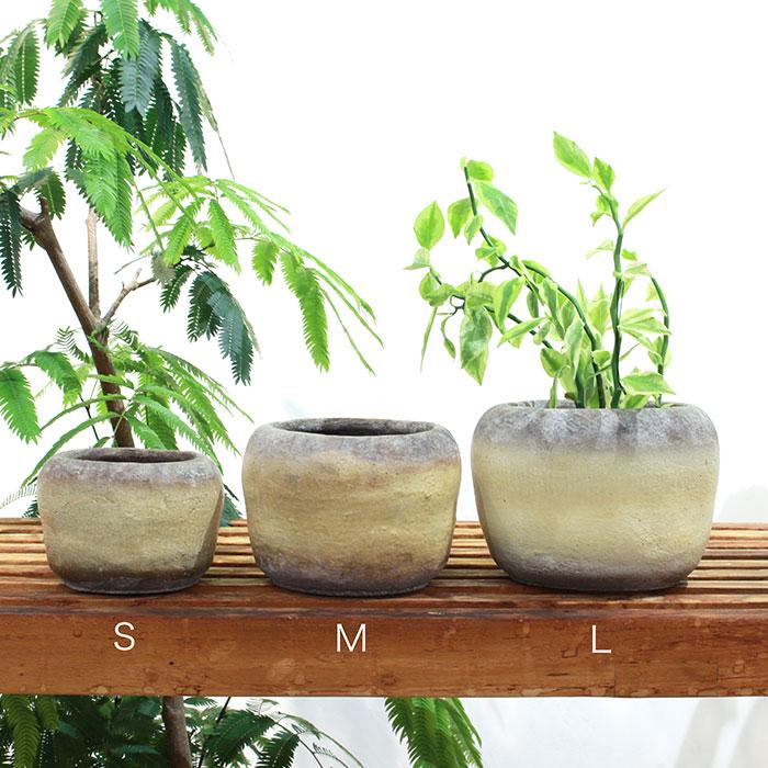 ALY 鉢カバー Mサイズ イエロー 陶器  鉢カバー 観葉植物01