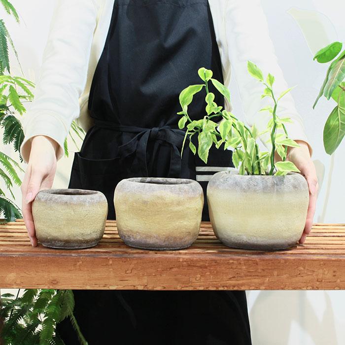 ALY 鉢カバー Mサイズ イエロー 陶器  鉢カバー 観葉植物02