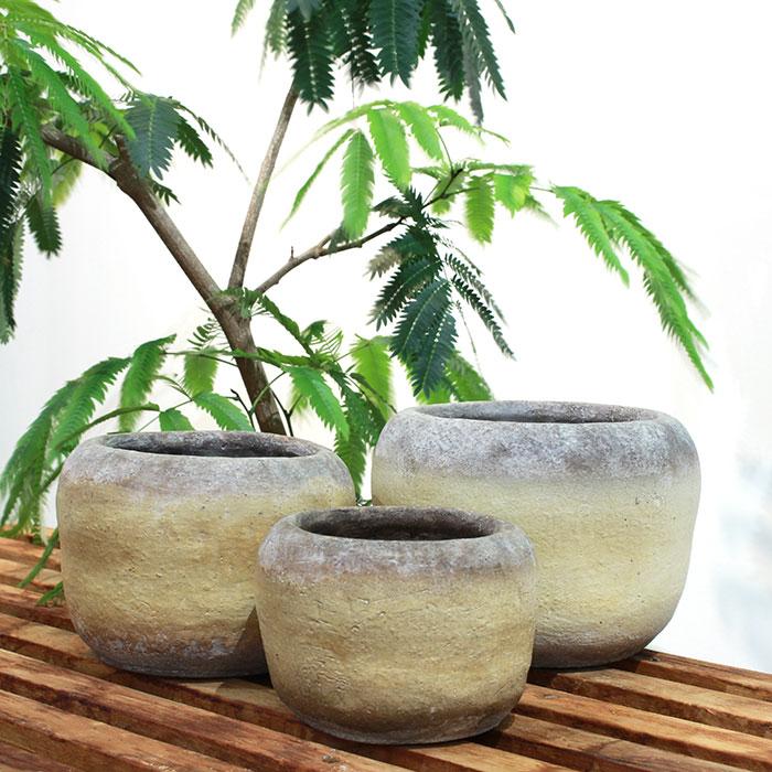 ALY 鉢カバー Mサイズ イエロー 陶器  鉢カバー 観葉植物04