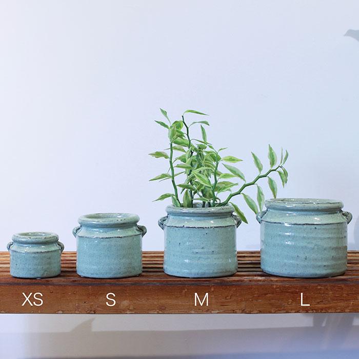 NEV 鉢カバー XSサイズ グリーン 陶器  鉢カバー 観葉植物 アンンティーク01