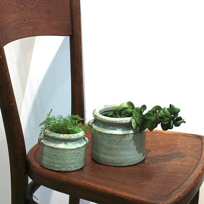 NEV 鉢カバー XSサイズ グリーン 陶器  鉢カバー 観葉植物 アンンティーク11