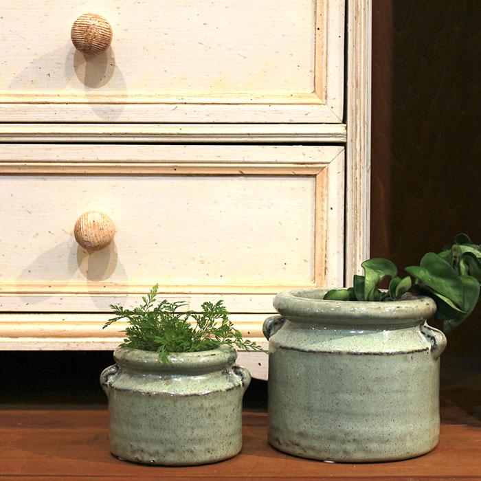 NEV 鉢カバー XSサイズ グリーン 陶器  鉢カバー 観葉植物 アンンティーク13